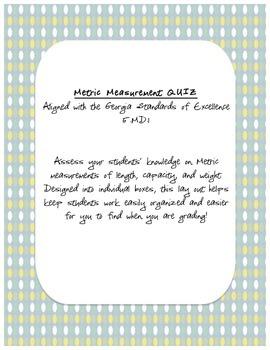 Measurement Quiz - Metric Measurements *UPDATED*