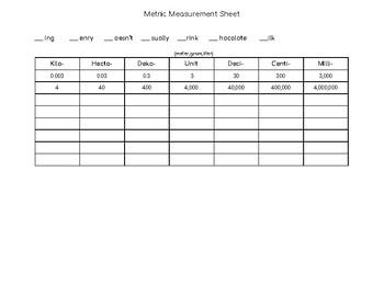 Metric Measurement Sheet- King Henry
