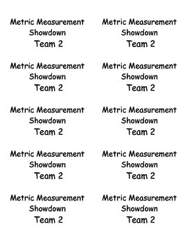 Metric Measurement - Showdown Cards - Cooperative Learning