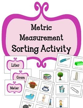 Metric Measurement Sorting Activity.  Math Center