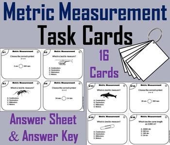 Metric Measurement Task Cards 4th 5th 6th Grade/ Metric Me