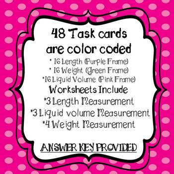 Metric System Measurement Task Cards and 10 Worksheets & Conversion Chart