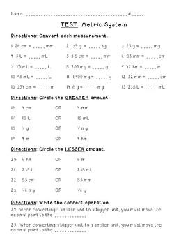 Metric Measurement Test {5th Grade Common Core}