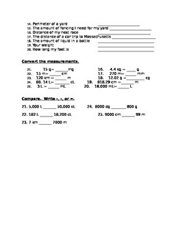 Metric Measurement Test and Study Guide