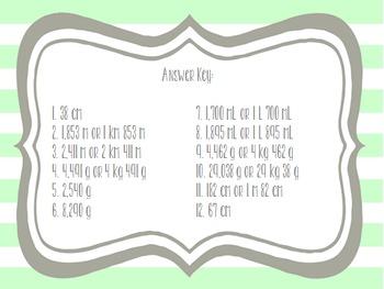Metric Measurement Word Problem Task Cards 4.MD.2