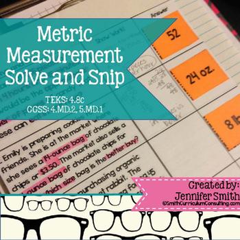 Metric Measurement Word Problems Solve and Snip- Common Core & TEKS