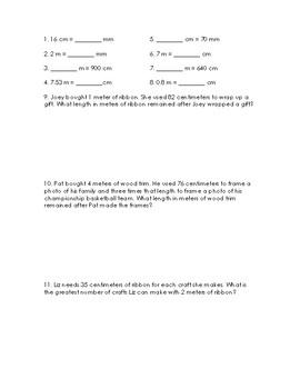 Metric Measurement Worksheet