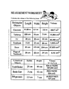 Metric System Measurement Worksheet