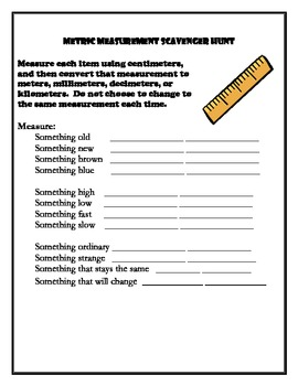 Metric Measurement And Conversion Scavenger Hunt By Oakes\u0027s Acorns Metric Scavenger Hunt Middle School Metric Measurement And Conversion Scavenger Hunt