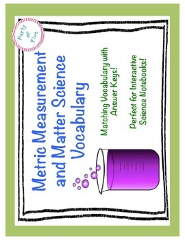 Metric Measurement and Matter Science Vocabulary