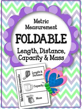 Metric Measurements Foldable.  Flip Flap Book. Length Dist