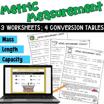 Metric Measurements Worksheets:  Length, Mass, Capacity, & Conversion Tables