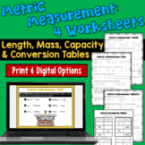 Metric Measurements Worksheets:  Length, Mass, Capacity, & Conversion Tables