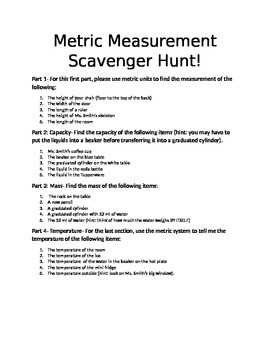Metric Scavenger Hunt