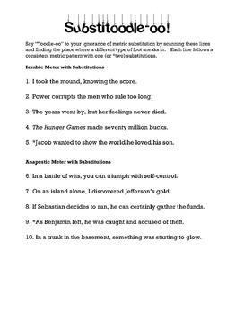 Metric Substitution Poetry Practice Worksheet