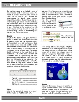 Metric System Article, Task Cards, and Graphic Organizer (with key)