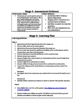 Metric System Backward Design Unit