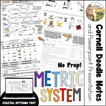 Metric System Cornell Doodle Notes Metrics Conversions with PowerPoint