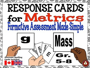 FREE Metric System Formative Assessment Response Cards
