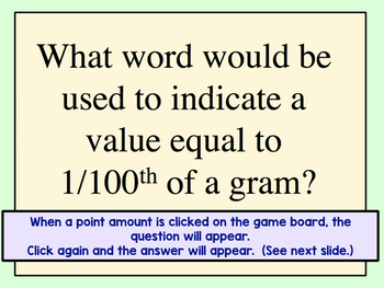 Metric System Jeopardy Review Game
