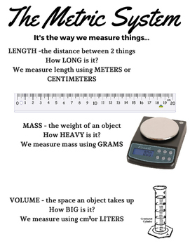 Metric System - Notes, Practice Worksheet, and TWO quizzes