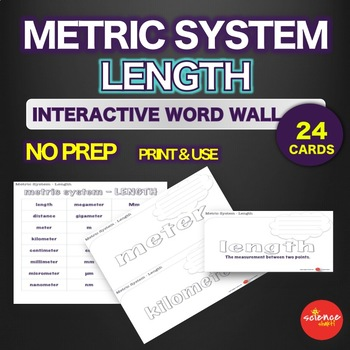Metric System - Length Measurement - Interactive Word Wall Activity - NO PREP
