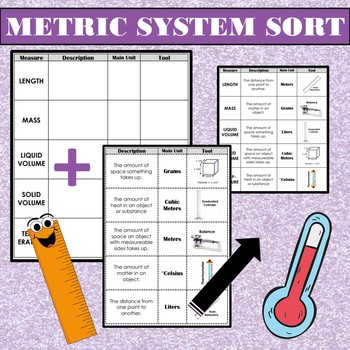 Metric System Measurement Sort: Description, Units, and Tools Cut & Paste