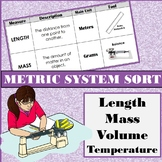 Metric System Measurement Sort: Description, Units, and Tools Cut & Paste