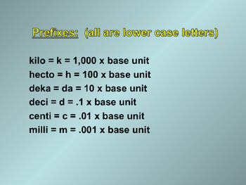 Metric System Power Point