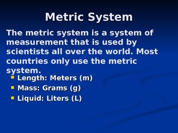 Metric System PowerPoint Notes