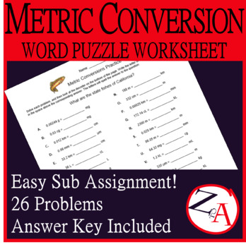 Metric System Practice Word Puzzle (State Fish of California)