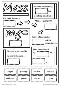 Metric System SI Units Cut and Paste Worksheets Science Skills Back to School
