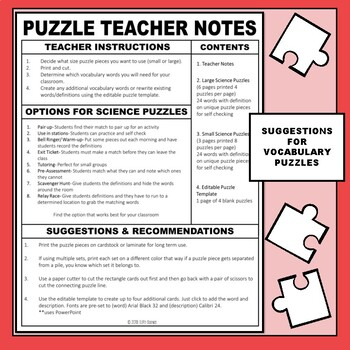 Metric System Science Vocabulary Puzzles