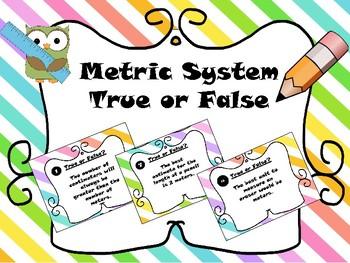 Measurement - Metric System Task Cards or Scoot True or False!