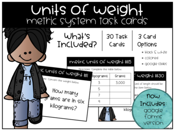 Metric System Units of Weight Task Cards
