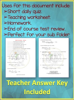Metric System and Dimensional Analysis Practice Problem Worksheet