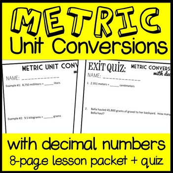 Converting Metric Units of Measurement with Decimals, 5th Grade Lesson (5.MD.1)