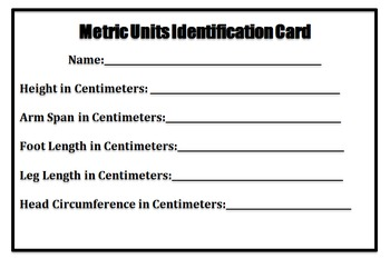 Metric Units Identification Card and My Measurements Conversion Chart
