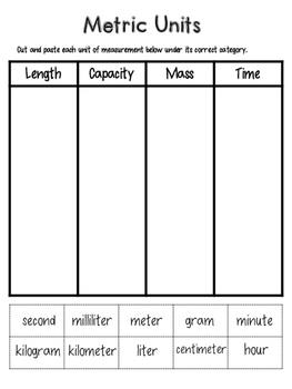 Metric Units Sort