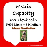 Metric Units of Capacity Worksheets