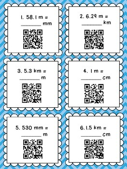 Metric Units of Length QR Code Task Cards