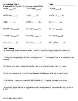 Metric Units of Mass Worksheets