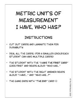 Metric Units of Measurement: I Have, Who Has