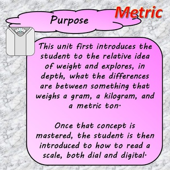 Metric Weight Unit for Special Education