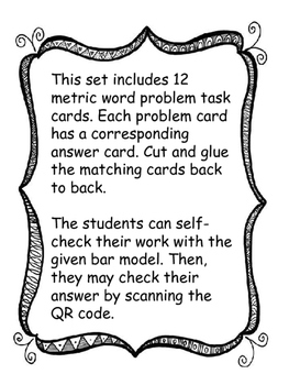 Metric Word Problem Task Cards