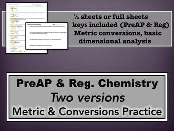 Metric and Conversions Homework - PreAP & Regular Versions