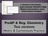 Metric and Conversions Practice - PreAP & Regular Versions
