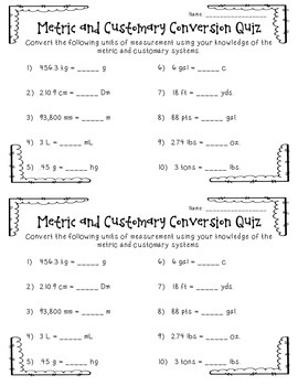 Metric and Customary Conversion Quiz