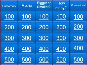 Metric and Customary Systems Jeopardy (25 Questions plus Final)