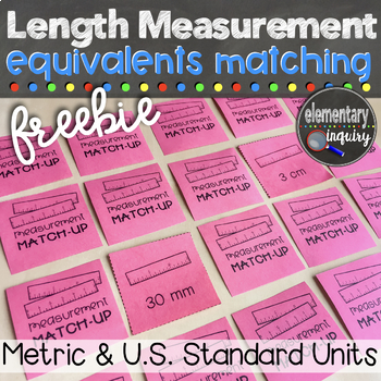 Metric and Standard Linear Measurement Equivalents Matching Card Game